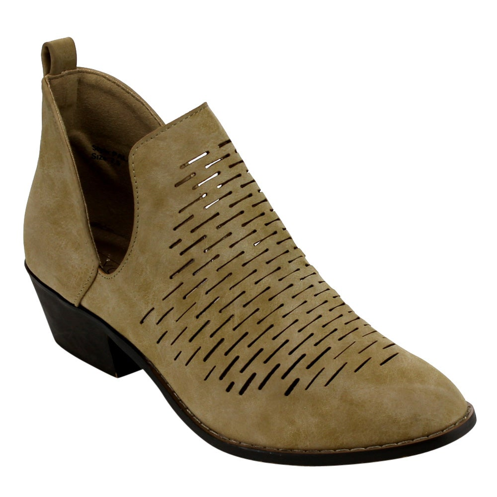 Yoki EC80 Women's Side Slit Laser Cut Out Stacked Ankle Booties