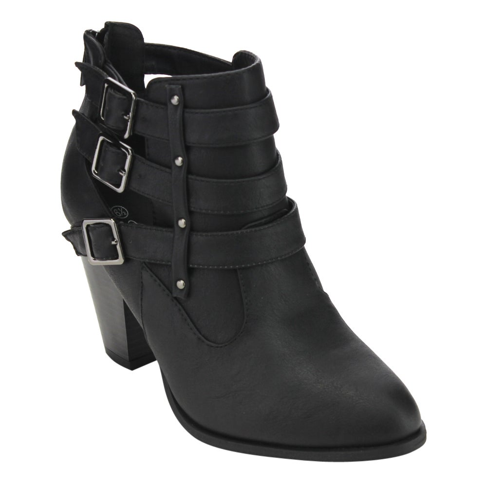 Forever GD10 Women's 3-buckle Deco Stacked-heel Cut-out Ankle Booties