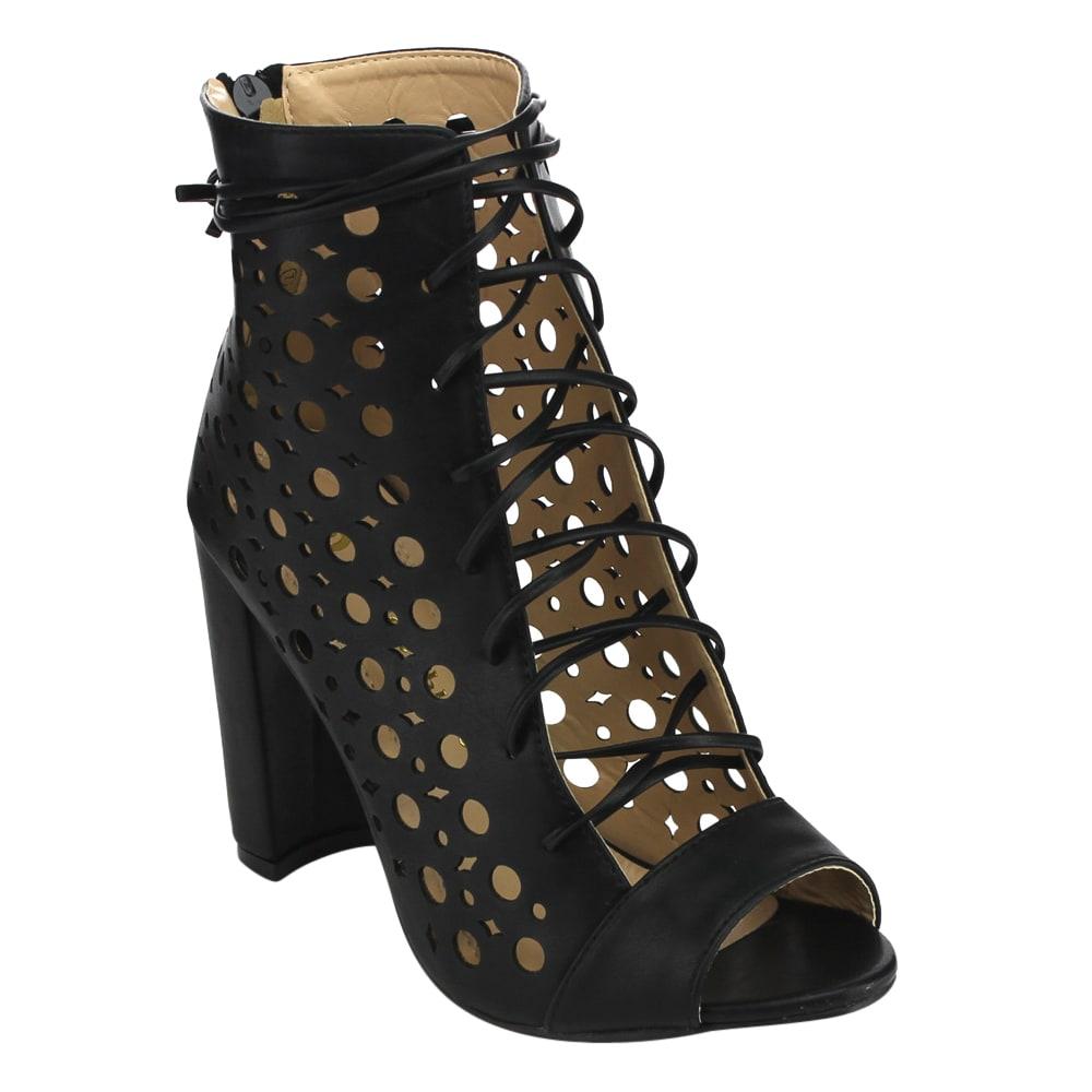 Chase & Chloe Women's Laser Cut-out Block Heel Dress Ankle Booties