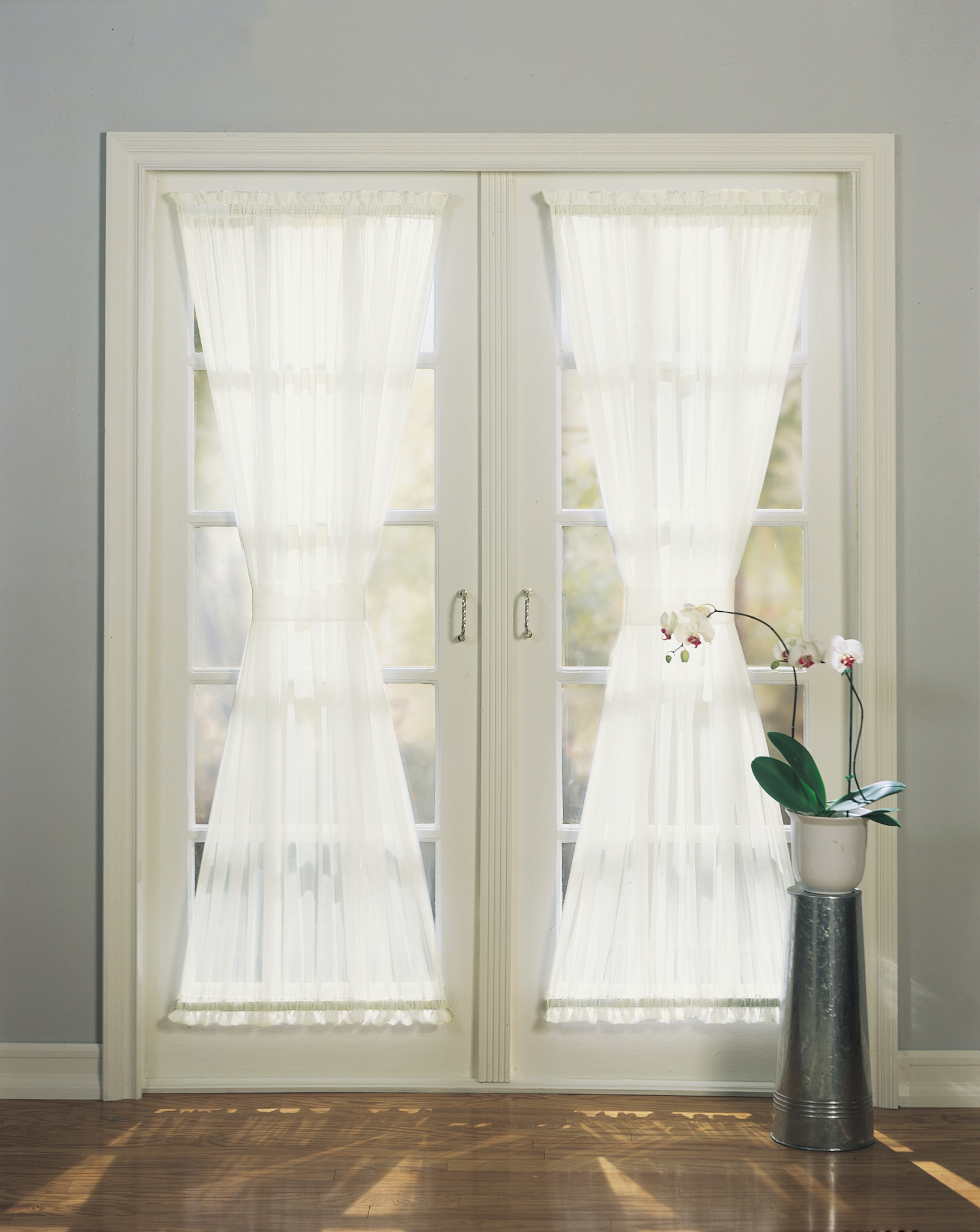 Emily Sheer Voile Single Solid-colored Polyester Patio Door Curtain Panel