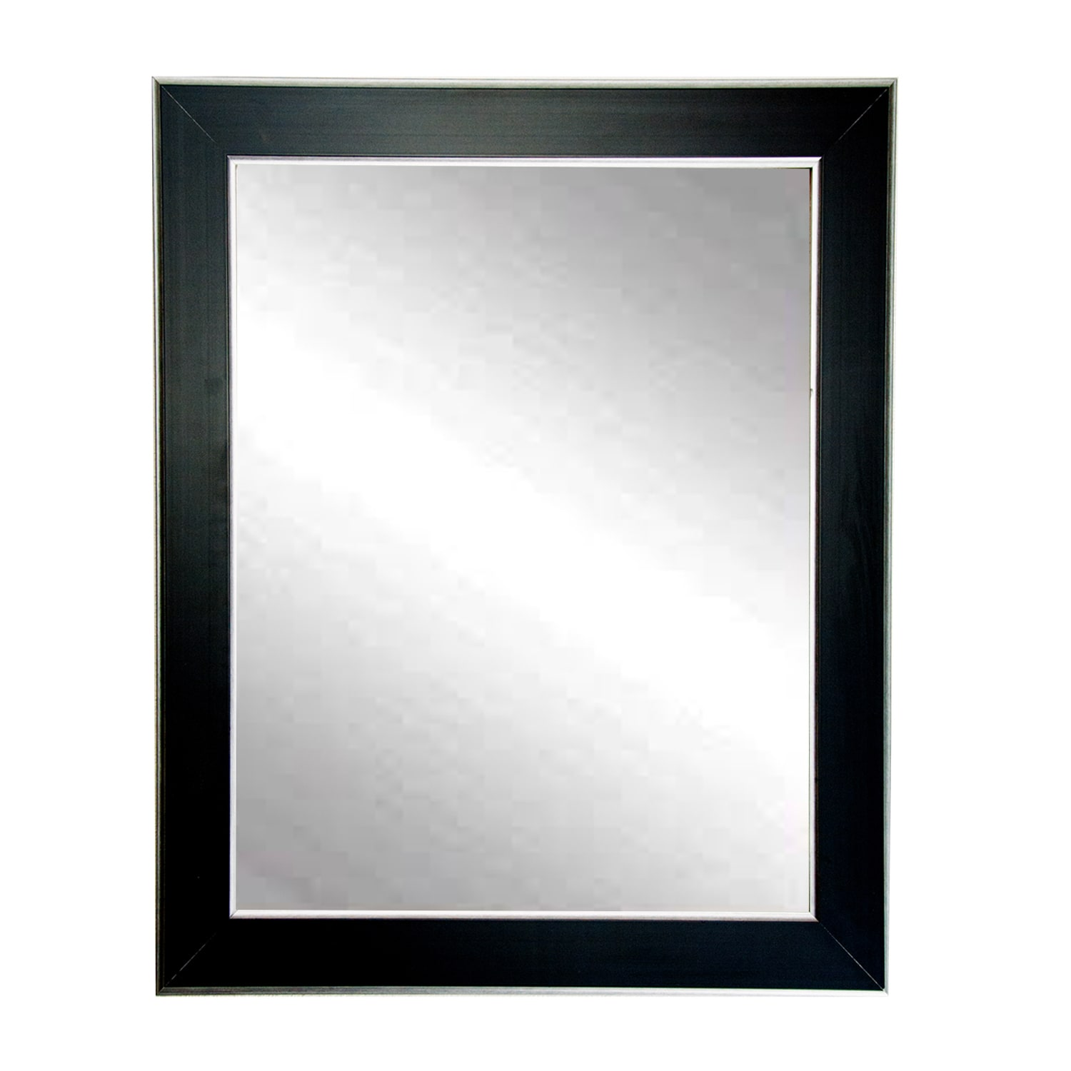 Black with Silver Accent Wall Mirror