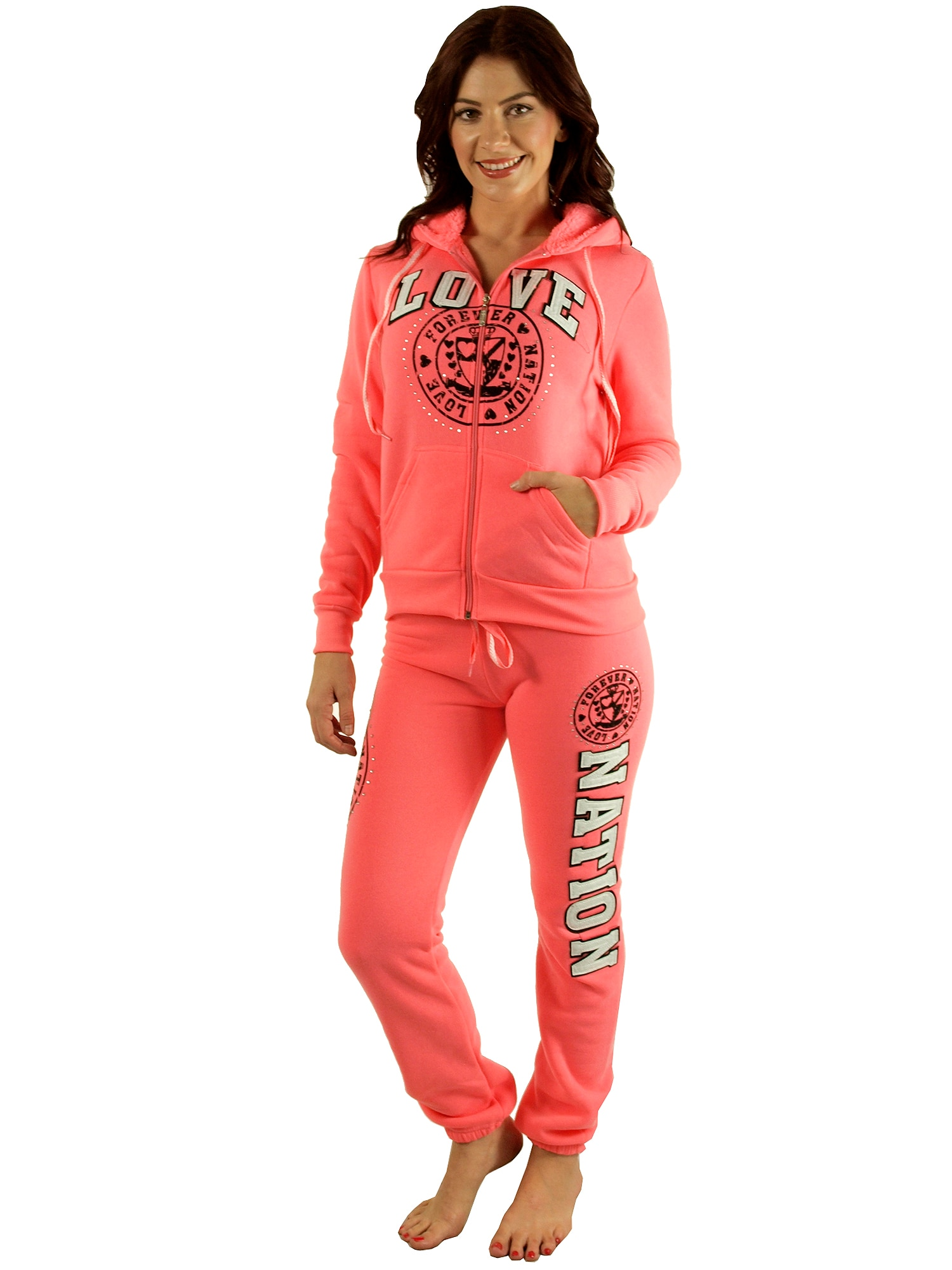 Special One Ladies' Fleece Fur-lined Warm-up Set with Love Nation Appliques