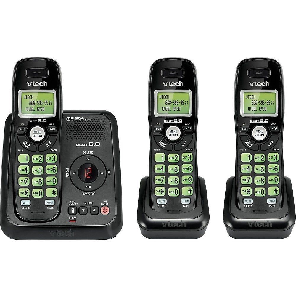 Vtech DS6120-31 DECT 6.0 Cordless Phone System with Digital Answering System and Three Handsets