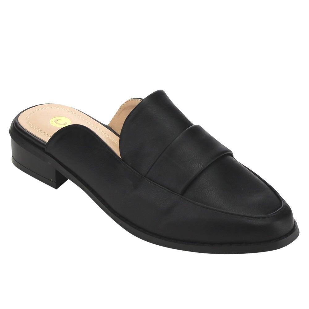 Chase & Chloe Women's EC50 Black Faux Leather Strap Details Low-heel Slip-on Mules