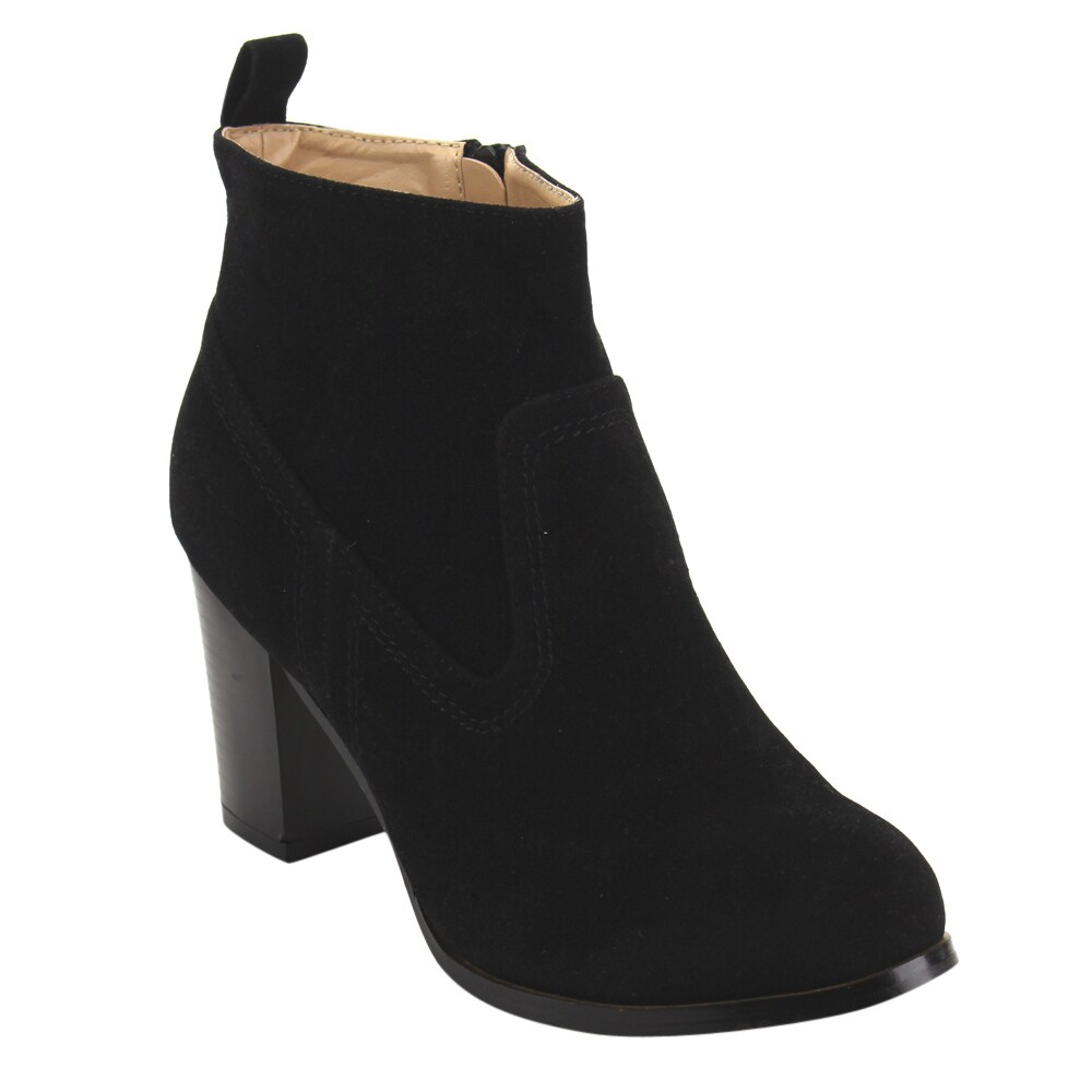 Chase & Chloe EC49 Women's Classic Side Zipper Mid Stacked Chunky Ankle Booties