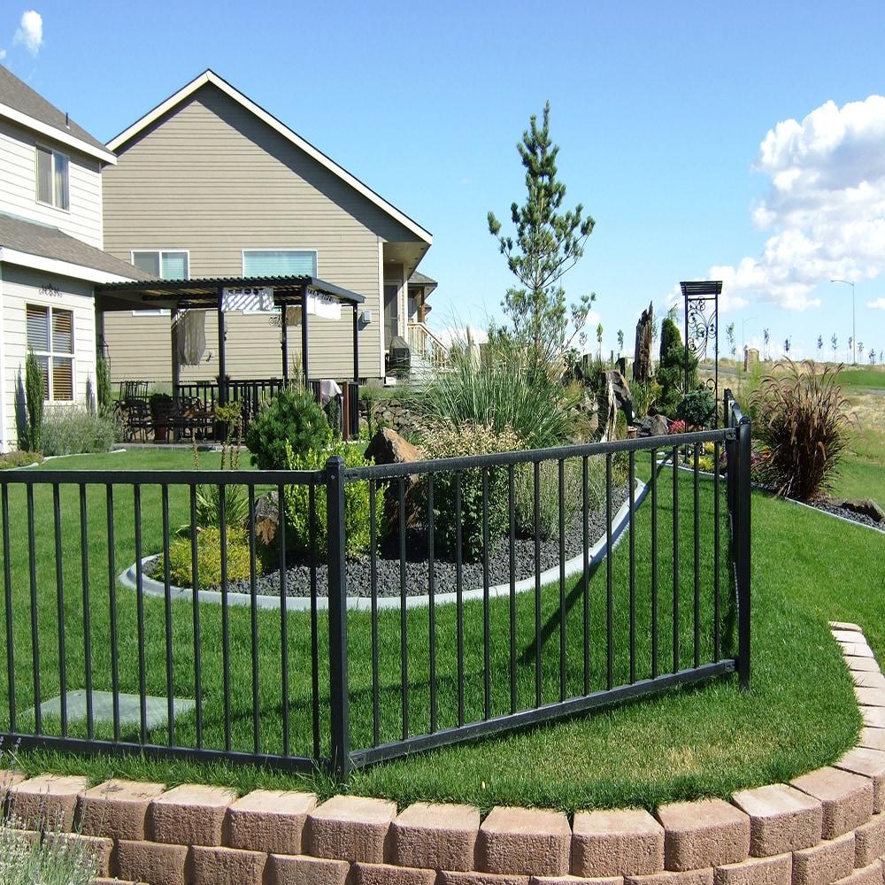 Black Steel 4-feet High x 6.5-feet Wide 2-Rail Fence Panel Kit