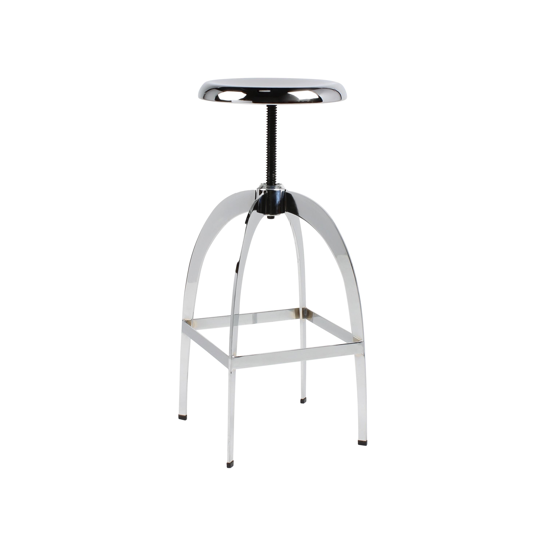 Kate and Laurel Tomi High-shine Chrome Metal Backless Bar Stool With Adjustable Swivel Seat