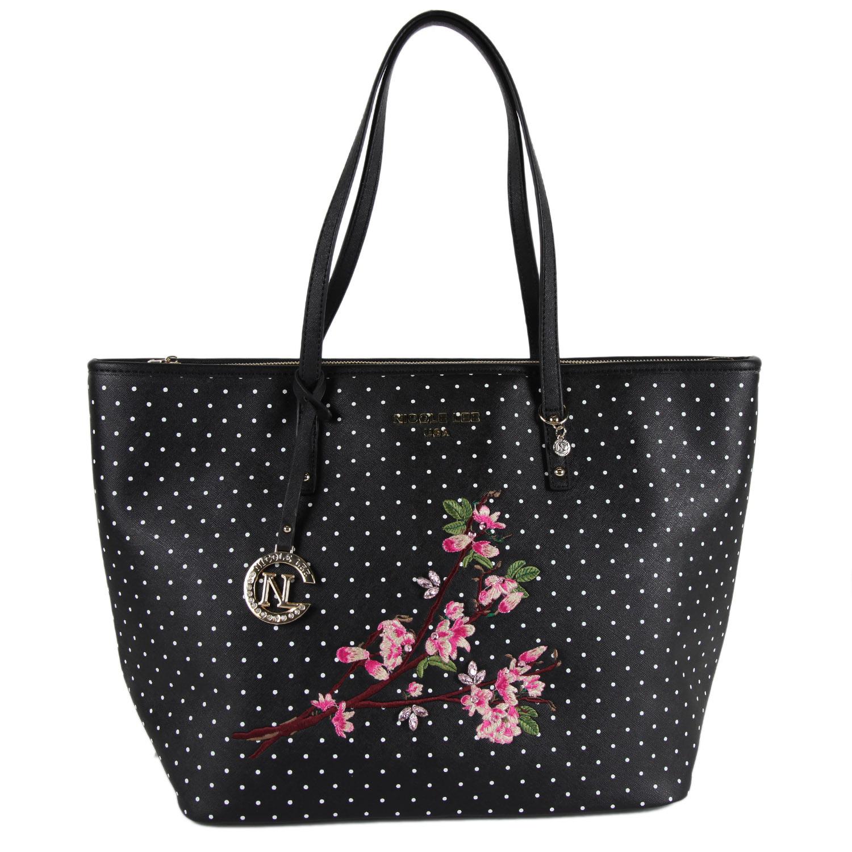 Nicole Lee Kayley Black Nylon/Faux Leather Floral Embellishment Shopper Tote Bag
