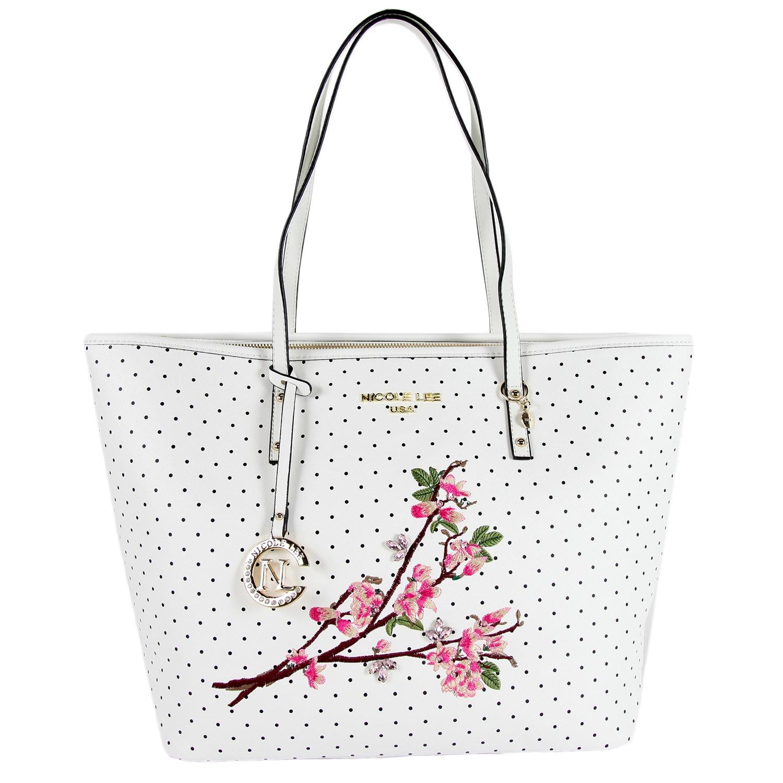 Nicole Lee Kayley White Floral Embellishment Shopper Tote Bag