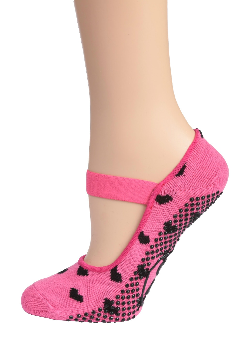 DG Sports Pink with Black Hearts Women's Yoga Mary Jane Socks with Grips (2-pack)