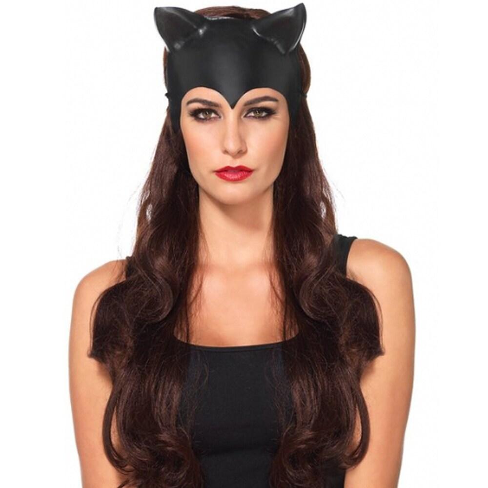 Molded White/Black Faux Leather Cat Mask