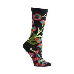 Women's Ozone African Florals Crew Socks (2 Pairs) Black