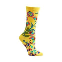 Women's Ozone African Florals Crew Socks (2 Pairs) Sunflower