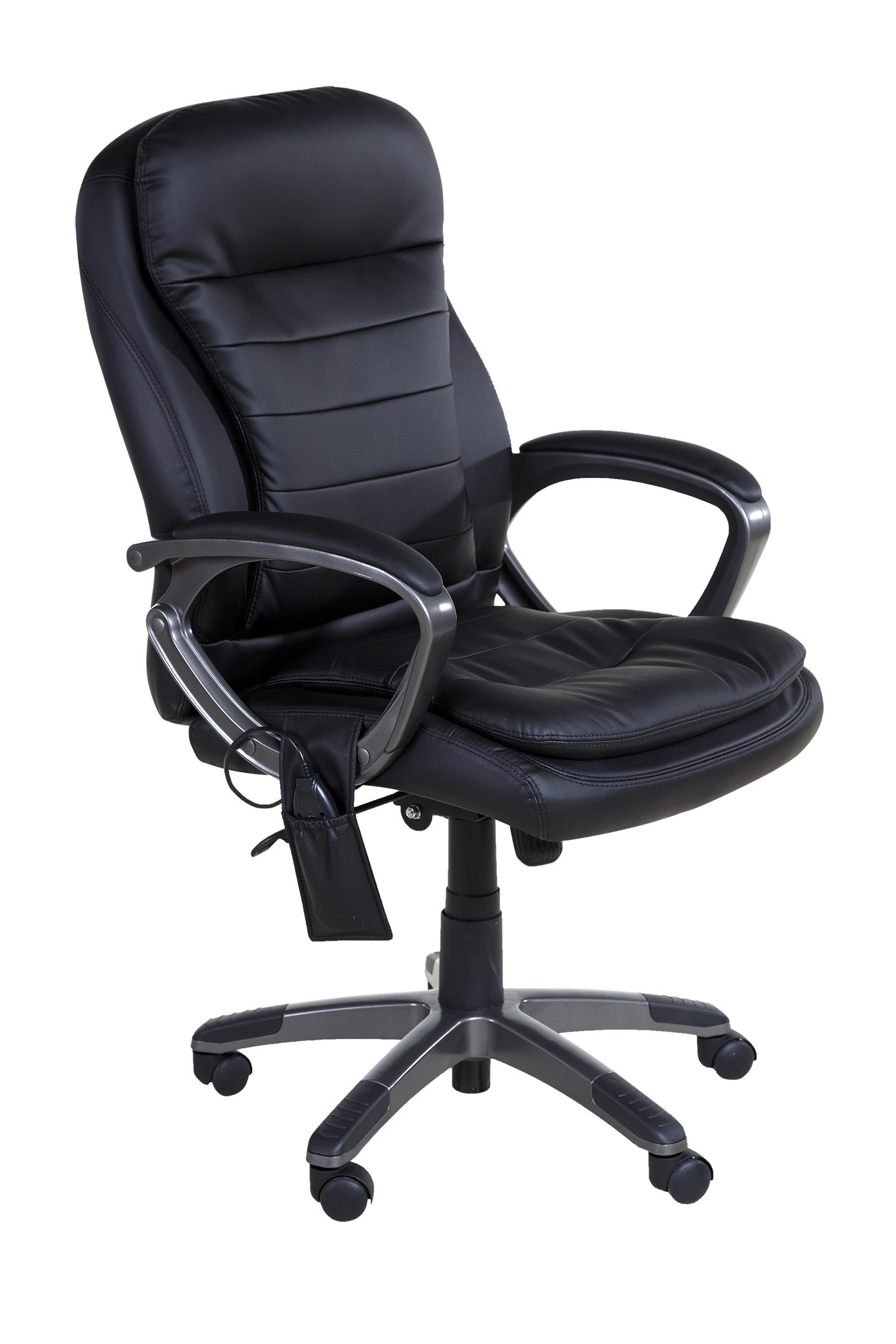 Relaxzen 60-3383 Black Leather Pillow-top Executive Chair with Heat and Massage