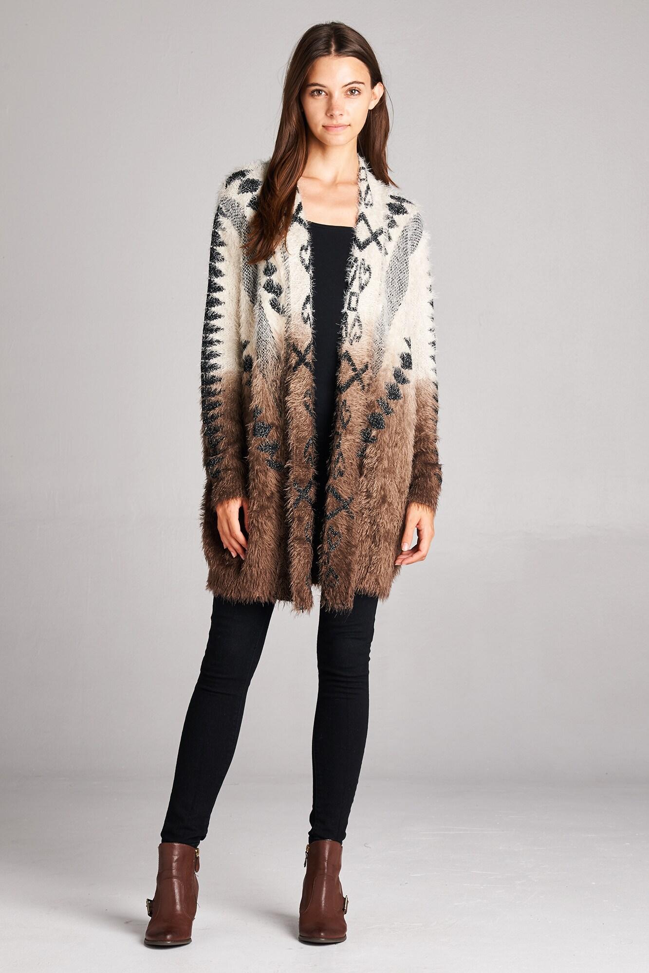 Orange Creek Fuzzy Ombre Acrylic/Nylon Long-sleeved Cardigan