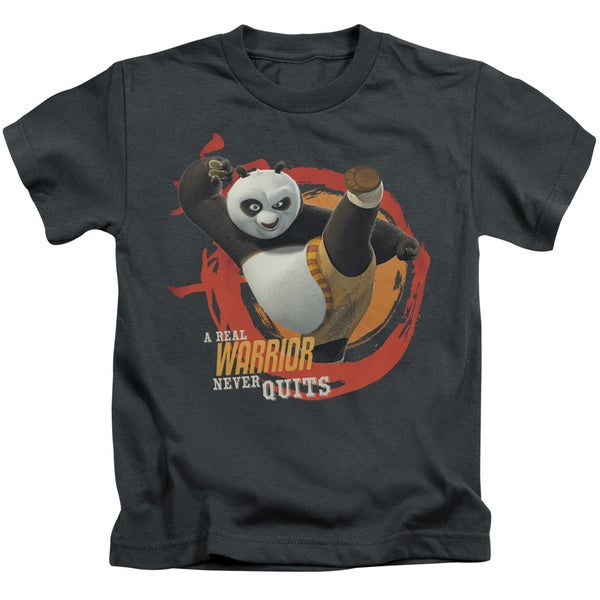 Kung Fu Panda/Real Warrior Short Sleeve Juvenile Graphic T-Shirt in Charcoal