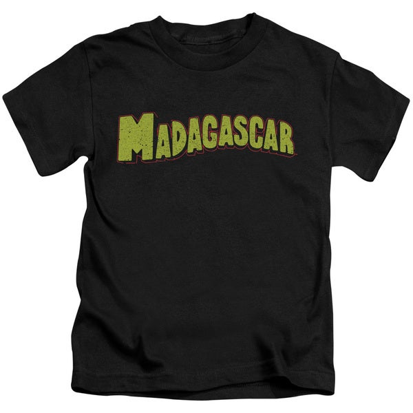 Madagascar/Logo Short Sleeve Juvenile Graphic T-Shirt in Black