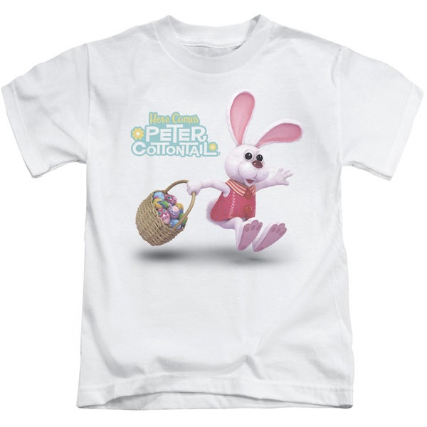 Here Comes Peter Cottontail/Hop Around Short Sleeve Juvenile Graphic T-Shirt in White