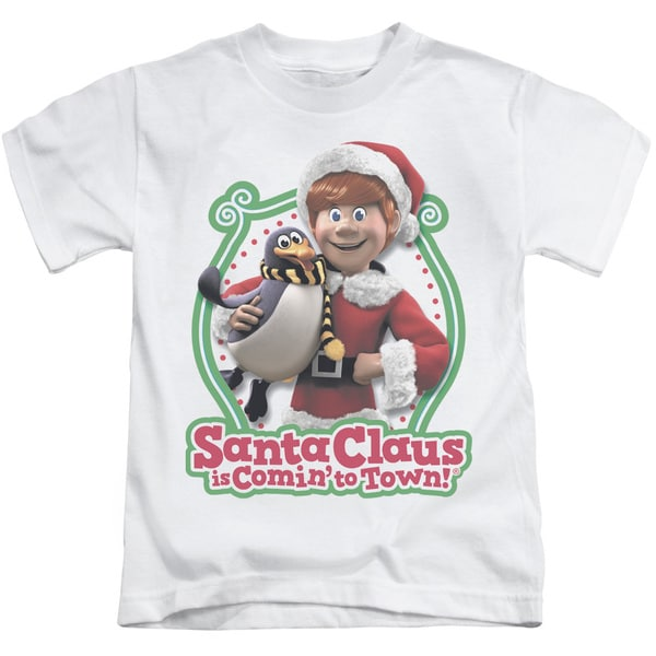 Santa Claus Is Comin To Town/Penguin Short Sleeve Juvenile Graphic T-Shirt in White