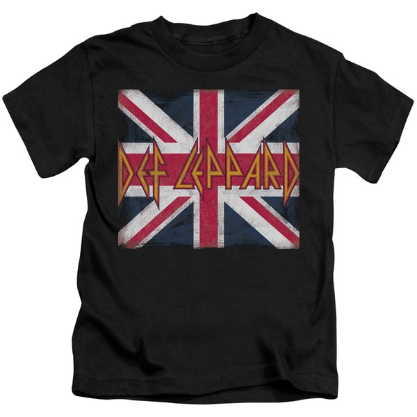 Def Leppard/Union Jack Short Sleeve Juvenile Graphic T-Shirt in Black