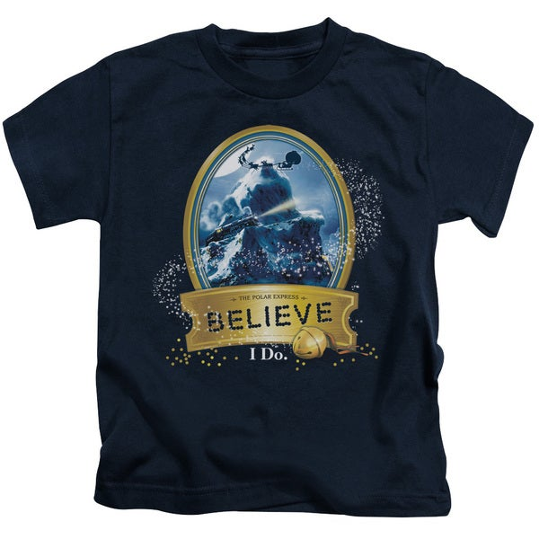Polar Express/True Believer Short Sleeve Juvenile Graphic T-Shirt in Navy