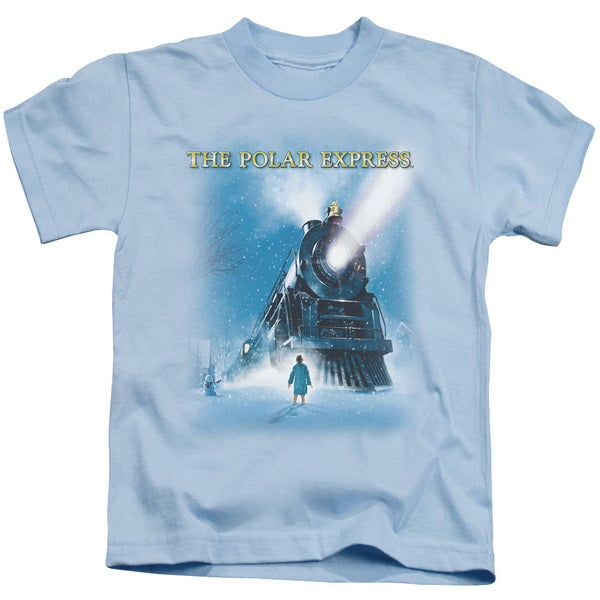 Polar Express/Big Train Short Sleeve Juvenile Graphic T-Shirt in Light Blue