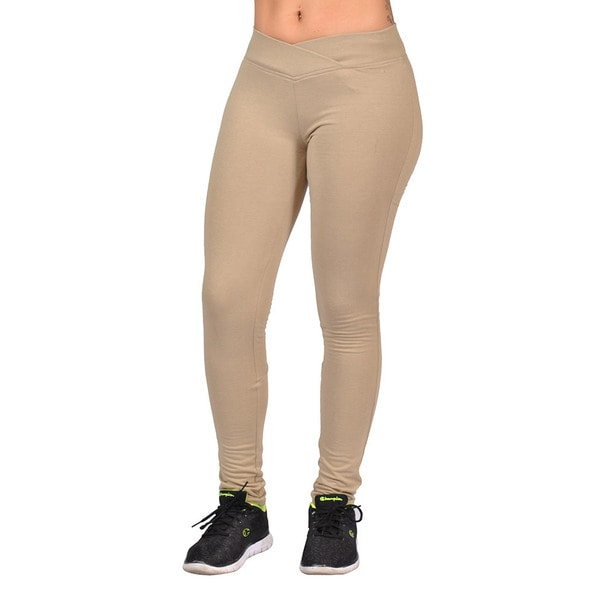 Fashion Women's Khaki Curved Front Elastic Waist Legging