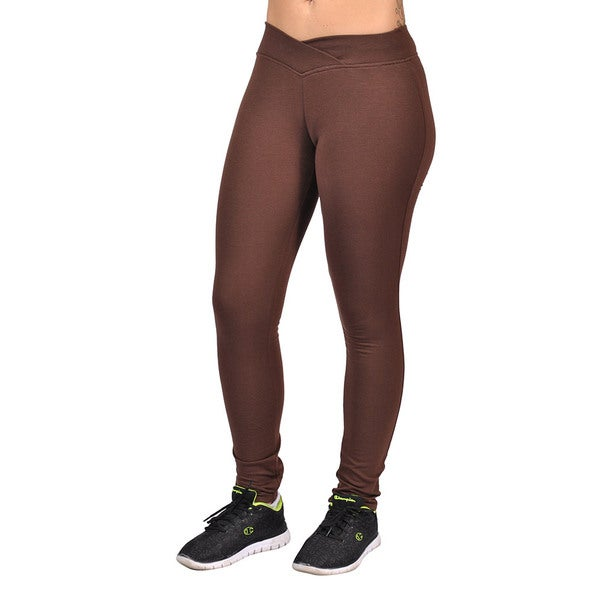 Fashion Women's Curved Front Brown Elastic Waist Leggings