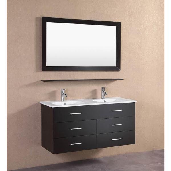 Modern Espresso Wall Floating 48 Inch Double Sink Bathroom Vanity