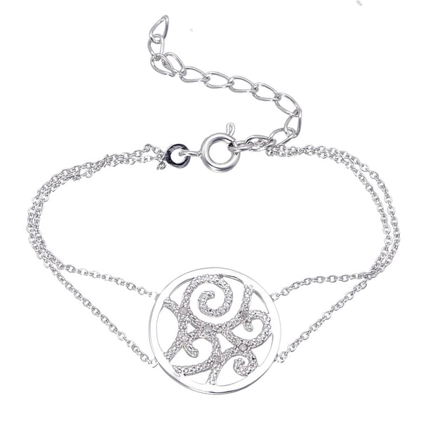 Filigree Disc White Diamond Bracelet (1/20 CT)