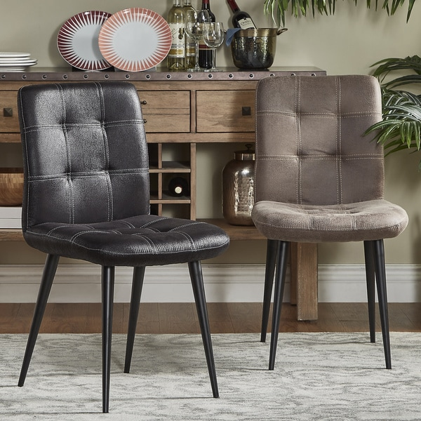 MID-CENTURY LIVING Rossi Microfiber Box-stitched Side Chairs (Set of 2)