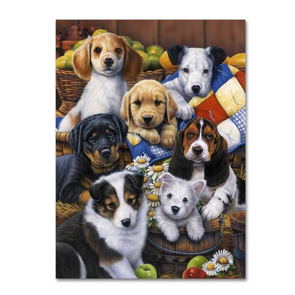 Jenny Newland 'Country Bumpkin Puppies' Canvas Art