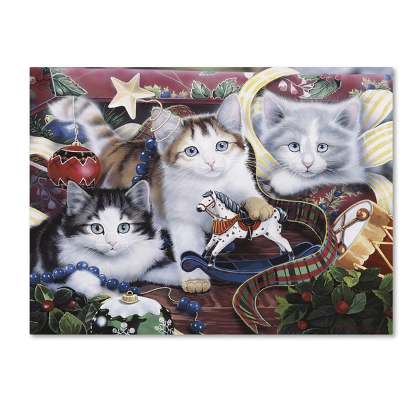 Jenny Newland 'Christmas Kittens & All The Trim'Ns' Canvas Art