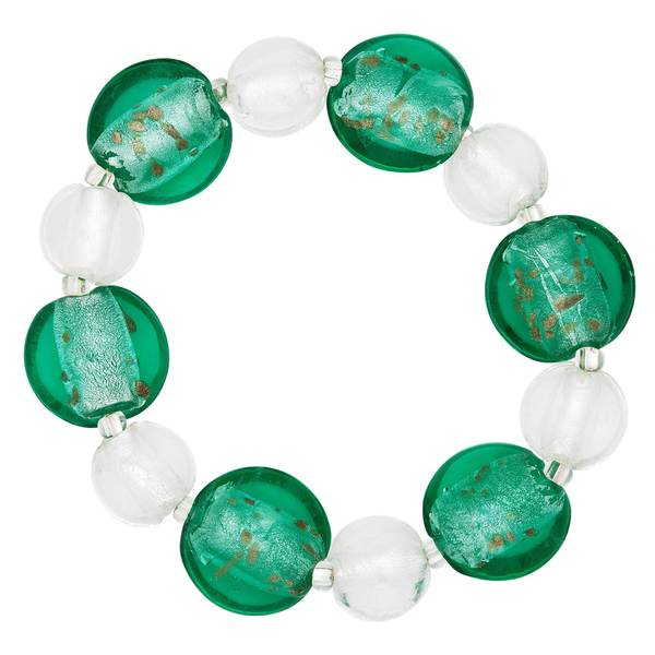 Turquoise and White Glass Bead Stretch Bracelet