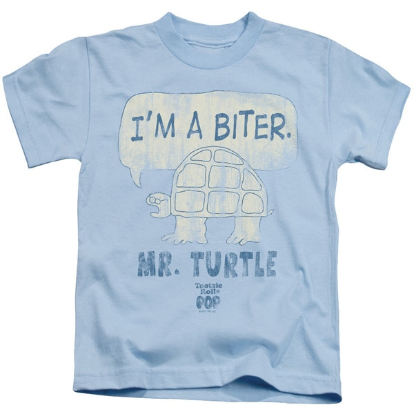 Tootsie Roll/I'M A Biter Short Sleeve Juvenile Graphic T-Shirt in Light Blue