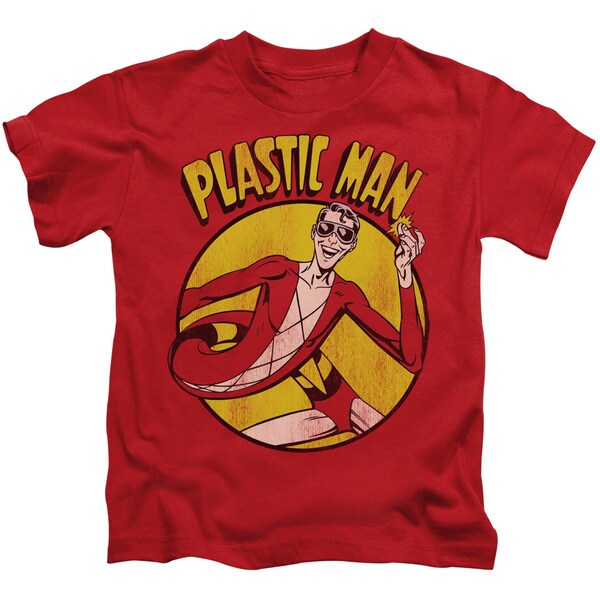 DC/Plastic Man Short Sleeve Juvenile Graphic T-Shirt in Red