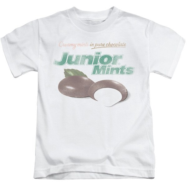 Tootsie Roll/Junior Mints Logo Short Sleeve Juvenile Graphic T-Shirt in White