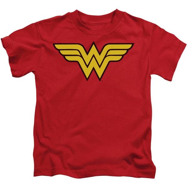 DC/Wonder Woman Logo Short Sleeve Juvenile Graphic T-Shirt in Red