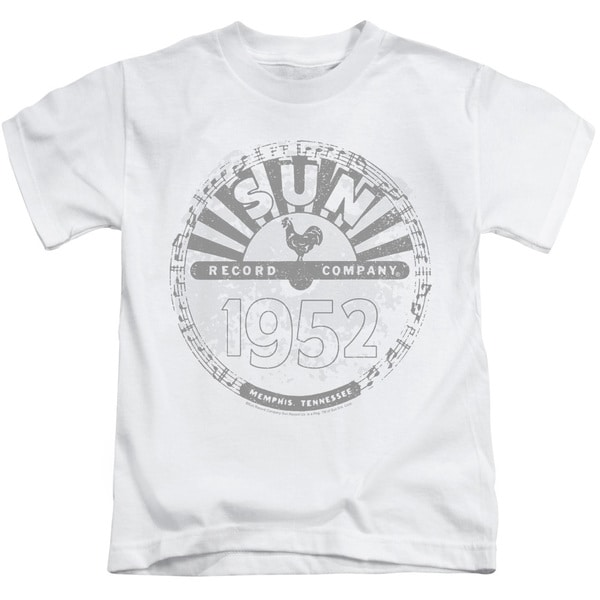 Sun Records/Crusty Logo Short Sleeve Juvenile Graphic T-Shirt in White