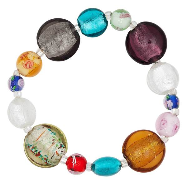 Multi-Colored Glass Bead Stretch Bracelet