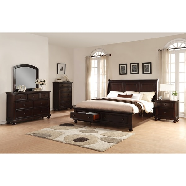 Brishland Rustic Cherry 5 Piece King Size Storage Bedroom Set 19398702
