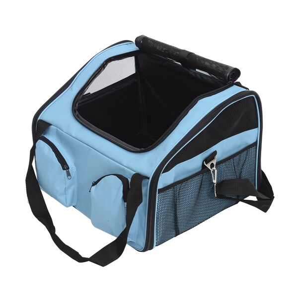 Pawhut Blue Fabric/Metal 16-inch Pet Travel Carrier