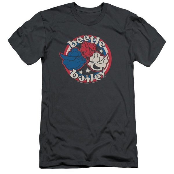 Beetle Bailey/Red White and Bailey Short Sleeve Adult T-Shirt 30/1 in Charcoal