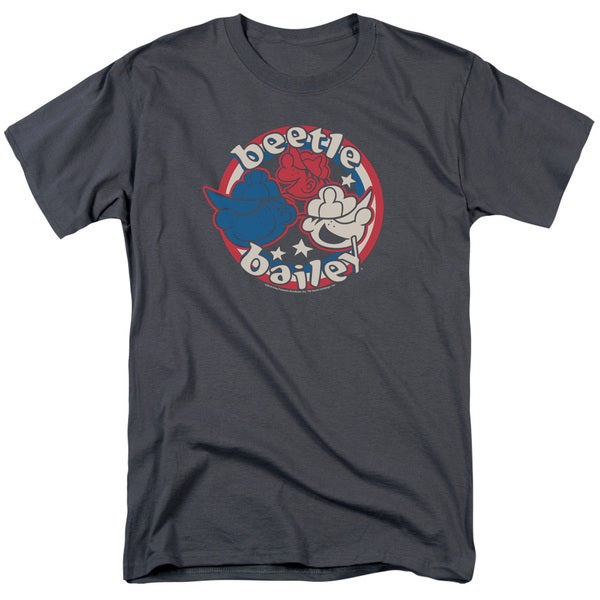 Beetle Bailey/Red White and Bailey Short Sleeve Adult T-Shirt 18/1 in Charcoal
