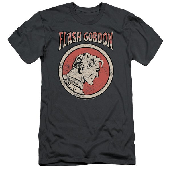Flash Gordon/Flash Circle Short Sleeve Adult T-Shirt 30/1 in Charcoal