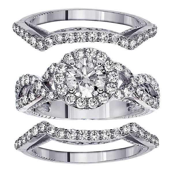 Platinum 2 3/4ct TDW Braided Mount Halo Diamond Engagement Bridal-set with 2 Matching Bands (G-H, SI1-SI2)