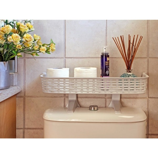 White Rattan Plastic Above Toilet Bathroom Space Saver