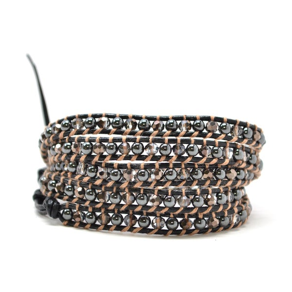 The Pandora Metallic Black and Clear Beaded Leather 34-inch Wrap Bracelet