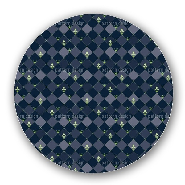 Checkerboard Flowers Lazy Susan