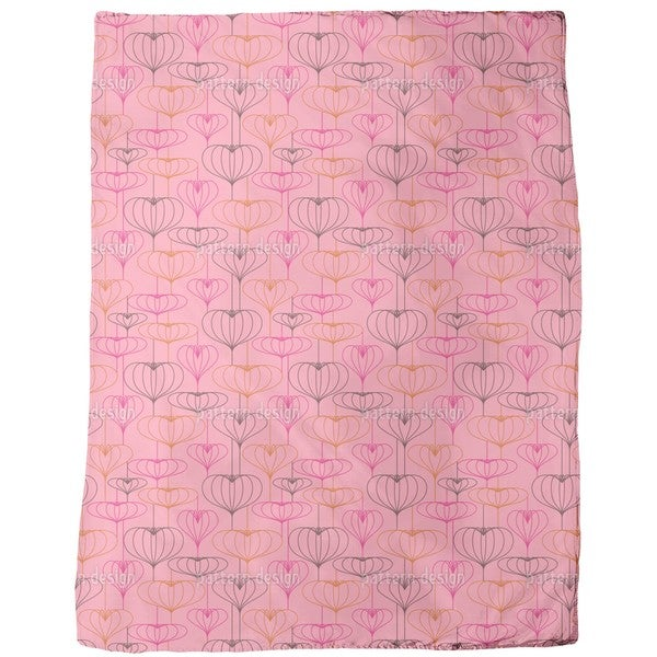 Heart Lantern Pink Fleece Blanket